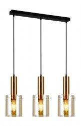 NOWOCZESNA SZKLANA LAMPA WISZĄCA ITALUX SARDO PND-5581-3-BRO+AMB DESIGNERSKA LOFT