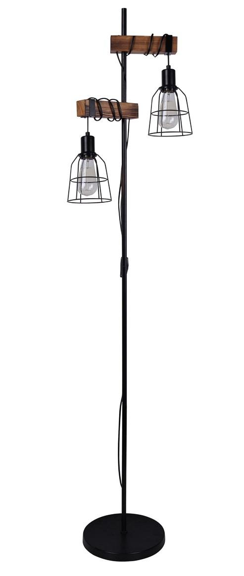 INDUSTRIALNA LAMPA PODŁOGOWA DREWNIANA ITALUX PONTE FL 4290 2 VINTAGE