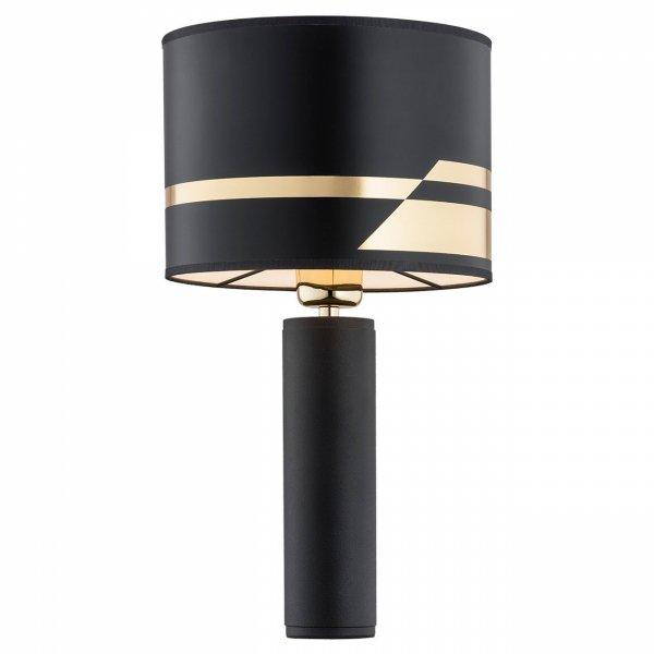 ELEGANCKA CZARNA LAMPA STOŁOWA ARGON ALMADA 4231 Z BIAŁYM ABAŻUREM LAMPA NOCNA GLAMOUR