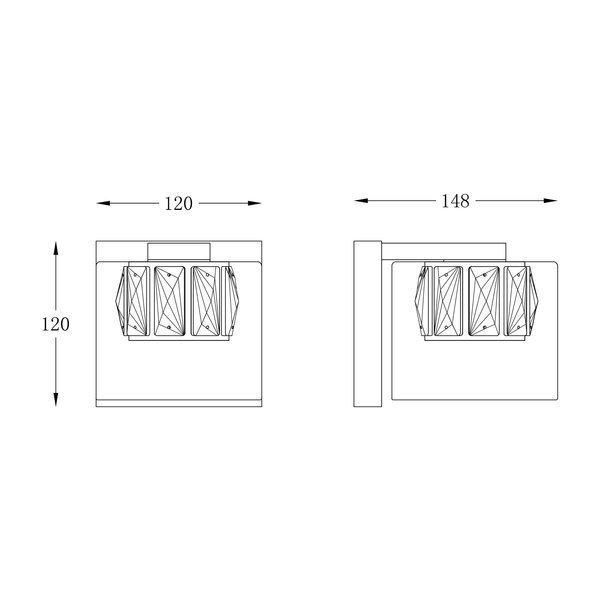 KINKIET KRYSZTAŁOWY GLAMOUR GEM ZUMA LINE W0389-01A-B5AC SREBRNY