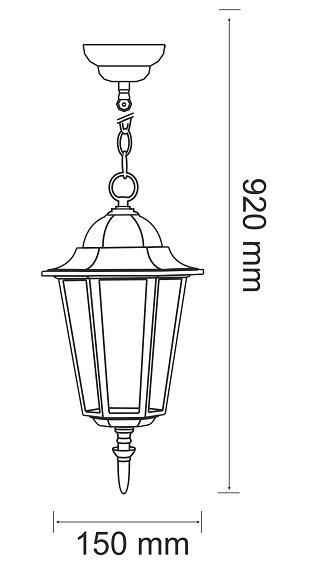 LAMPA OGRODOWA ZEWNĘTRZNA WISZĄCA CZARNA POLUX LIGURIA 202161 CZARNA LATARNIA