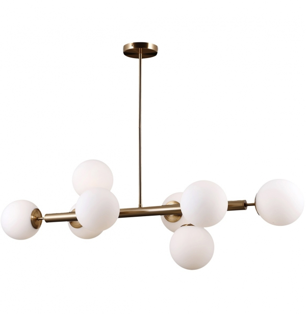 ITALUX RADDI PNS-5510-8-HBR ZŁOTA NOWOCZESNA LAMPA WISZĄCA SZKLANE KULE W STYLU LOFTOWYM