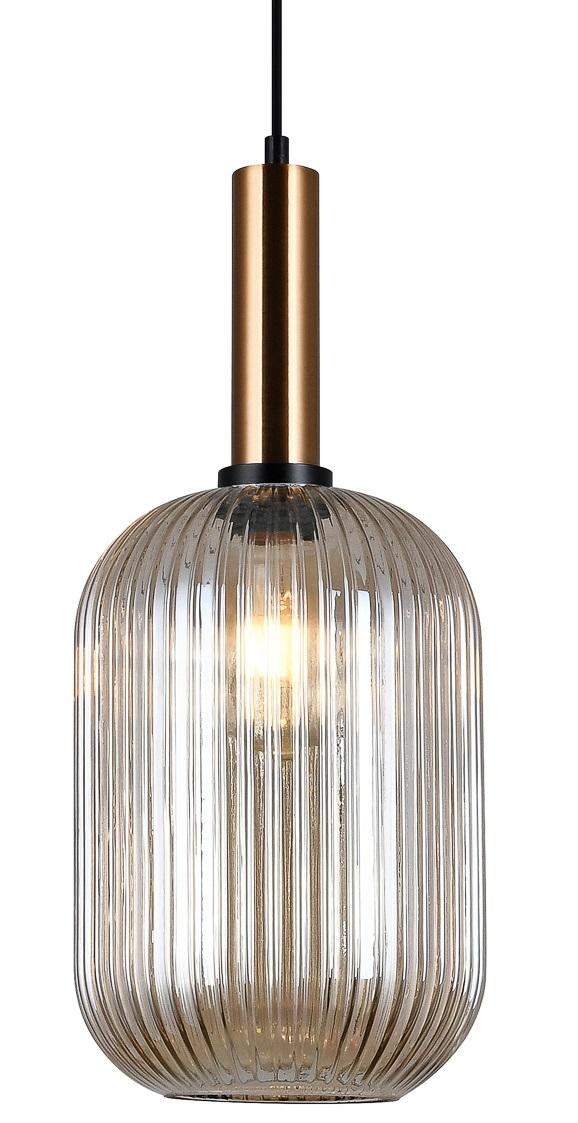 NOWOCZESNA SZKLANA LAMPA WISZĄCA ITALUX ANTIOLA PND 5588 1L BRO+AMB DESIGNERSKA LOFT