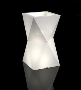Biała donica Valencia z oświetleniem
