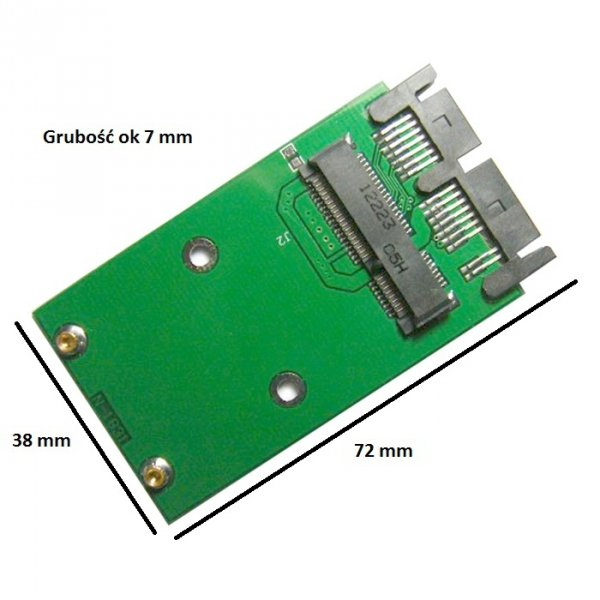 Adapter Micro Sata mSata 7+7+2 SSD 50mm pci-e