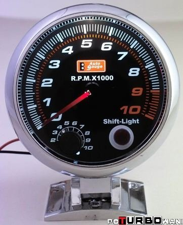Auto Gauge Smoke - obrotomierz z shift light chrom 90mm