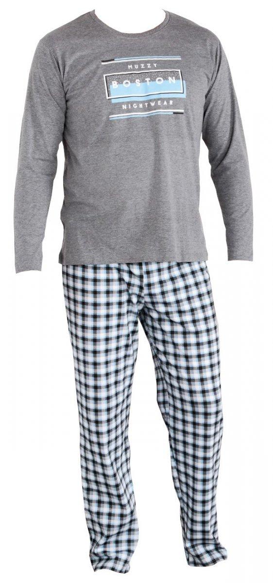 MUZZY Piżama męska długie spodnie  BOSTON