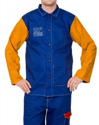 WELDAS-Yellowjacket® niebieska, trudnopalna, bawełniana kurtka spawalnicza z żółtymi, skórzanymi rękawami z dwoiny bydlęcej 33-3060 XL
