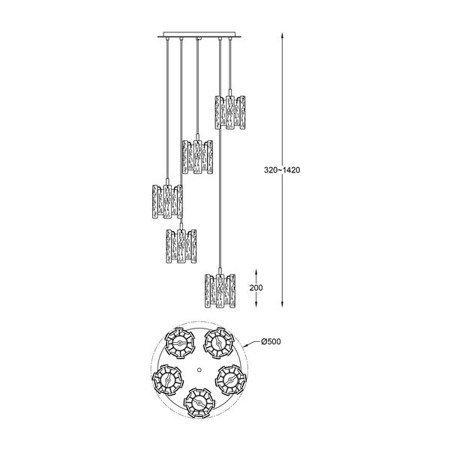 LAMPA WEWNĘTRZNA (WISZĄCA) ZUMA LINE FROZE PENDANT P0509-05D-B5AC Zuma Line
