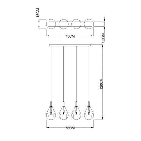 LAMPA WEWNĘTRZNA (WISZĄCA) ZUMA LINE BASTONI PENDANT MD1921-4A-CLEAR Zuma Line
