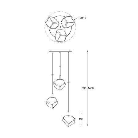 LAMPA WEWNĘTRZNA (WISZĄCA) ZUMA LINE ROCK PENDANT P0488-03D-B5FZ Zuma Line