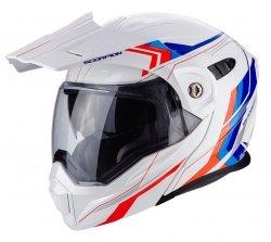 Scorpion ADX-1 ANIMA kask motocyklowy szczękowy z daszkiem Dual Touring Adventure BMW Style biały-niebieski-czerwony M