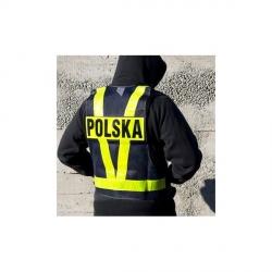 Biketec Safe Vest Kamizelka siatkowa z pasami odblaskowymi napis Polska