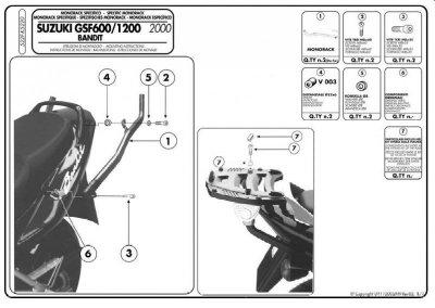 KAPPA K5220 stelaż kufra centralnego Suzuki GSF 600 (00-04), GSF 1200 - 1200 S (00-05)