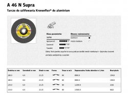 KLINGSPOR TARCZA DO SZLIFOWANIA METALU 125mm x 6,0mm x 22,2mm  A46N Supra ALUM.