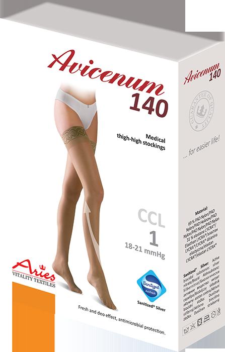 ARIES Pończochy przeciwżylakowe I stopnia ucisku z samonośną koronką Avicenum 140 (18-21 mmHg)