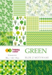 Blok z motywami GREEN, 80g/m2, A4, 15 ark, 30 motyw, Happy Color