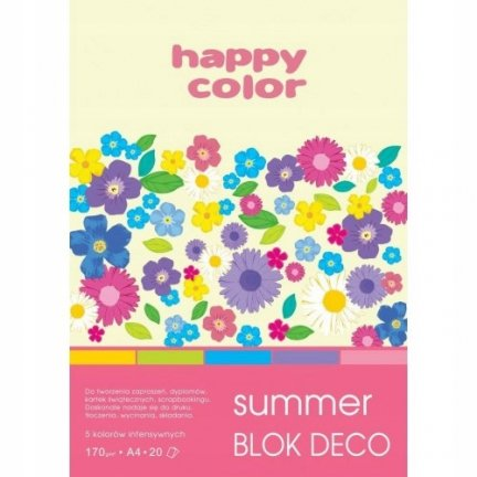 BLOK PAPIER KOLOROWY HAPPY COLOR SUMMER A4/20K