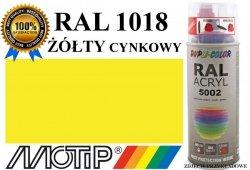 MOTIP lakier farba żółty cynkowy połysk 400 ml akrylowy acryl szybkoschnący RAL 1018