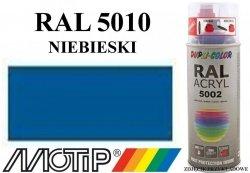 Lakier farba niebieski ciemny połysk 400 ml akrylowy acryl szybkoschnący RAL 5010