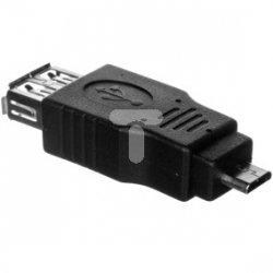 Adapter USB 2.0 Typ microUSB B/USB A, M/Ż czarny AK-300507-000-S