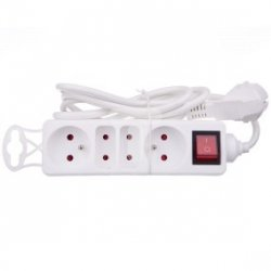 Przedłużacz gniazdowy 2x16A + 2x6A z wyłącznikiem, kabel 3G1, 1,5m - VELSTRO, VS-01-045