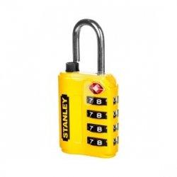 Kłódka cynkowa TSA 30mm /szyfrowa 4-cyfry/ żółta S742-059