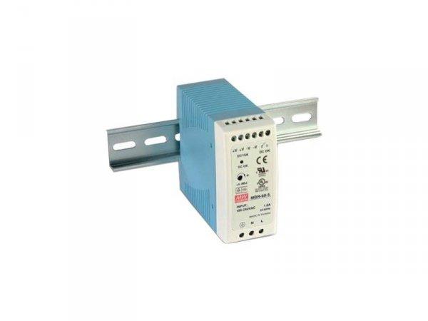 MDR-60-12 wejście 85-264V AC + zacisk uziemiający, wyjście 12V DC / 5A / 60W, montaż na szynie DIN, wyjście sygnalizacyjne, regu