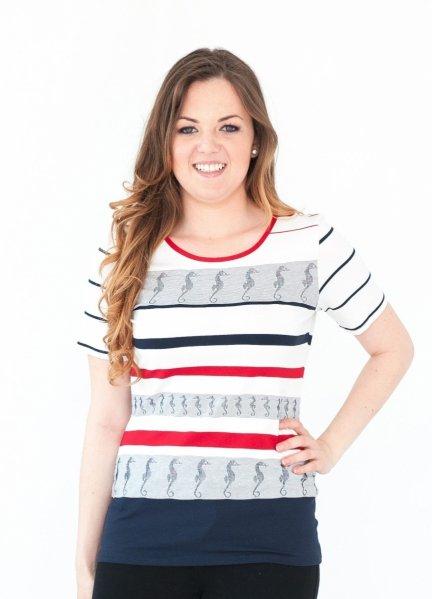 Bluzka w marynarskie paski, t-shirt rozmiar 42