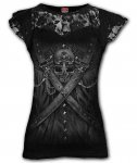 Strapped - Lace Sleeve Top - Spiral