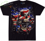 Patriotic Skulls Black - Liquid Blue