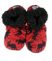 Moose Red Fuzzy Feet  - Papučky - LazyOne