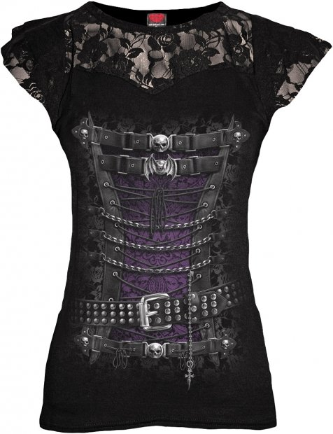 Waisted Corset - Lace Sleeve Top - Spiral