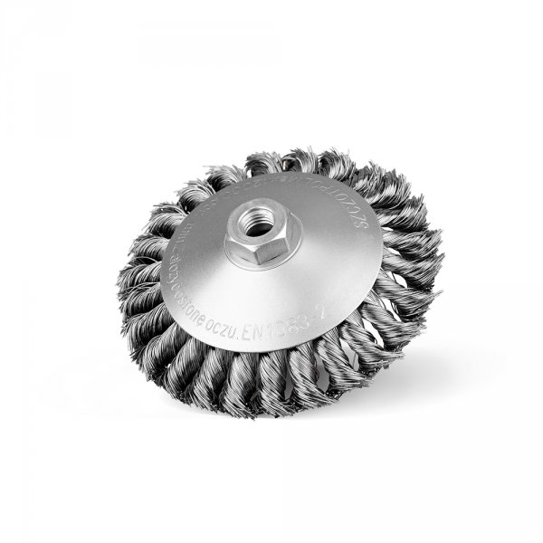 Szczotka tarczowo-kątowa Ø 130 z nakrętką M14, splatana drut stalowy (010-GKSI)