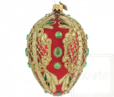 Deko Ei 13cm - Smaragde auf Rot