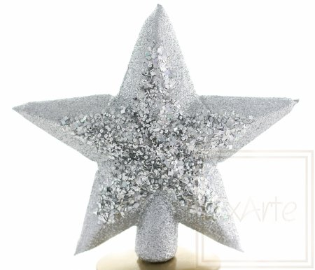 Gwiazda 22cm - Srebrzysta