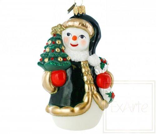 Schneemann mit Weihnachtsbaum - 12 cm