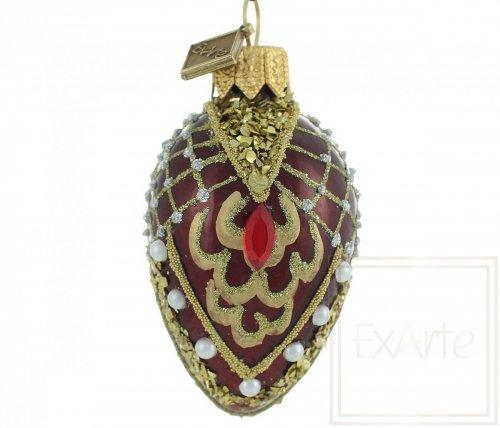 Deko Ei 7cm - Rubin und kleine Perlen