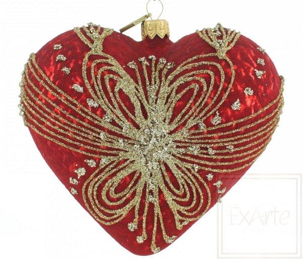 ozdobna bombka serce / Herz 12cm - gewebt mit Gold