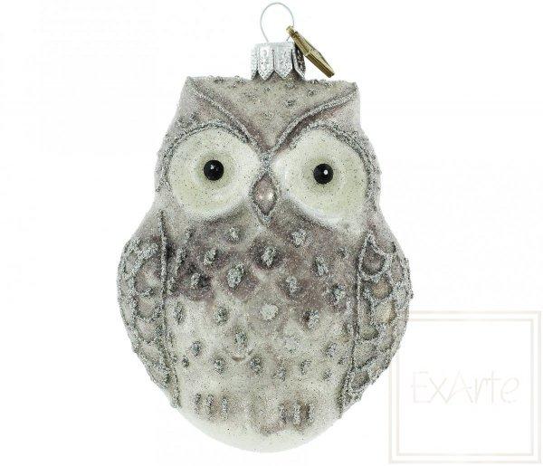 figurka na choinkę sowa / Schnee-Eule - 10cm / Snow Owl - 10cm