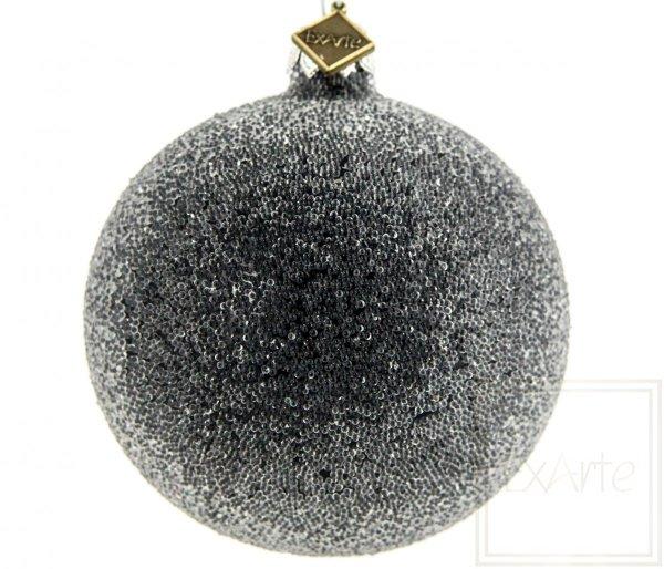 oszroniona bombka szklana / Ball 8cm - Perl Frost auf Schwarz