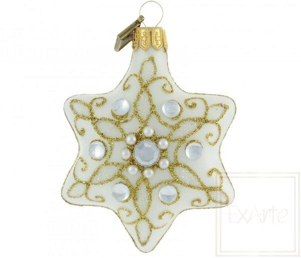 bombka szklana z perełkami / 5 cm Stern - Perle