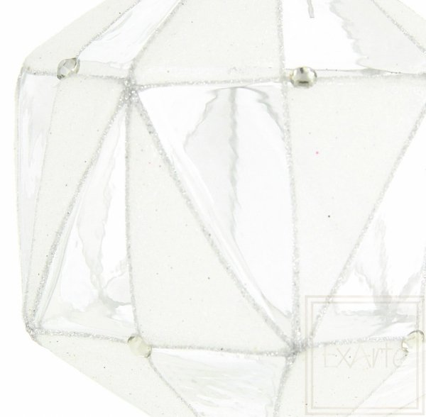 Bombka srebrna, Weinachtspolygon 11cm - mattiert