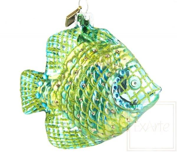 szmaragdowa bombka szklana rybka / Fisch 9cm - Smaragd