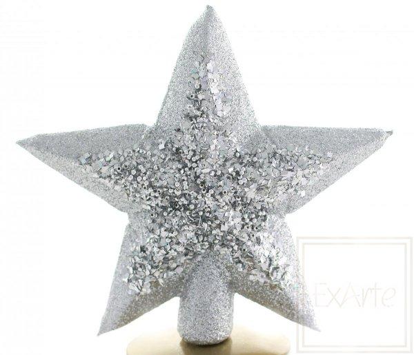 duży czub choinkowy srebrna gwiazda