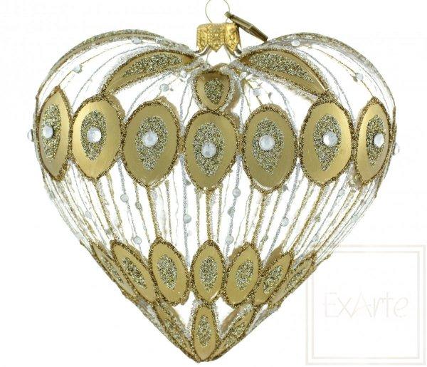 złote serce bombka szklana / Glaskugeln große Herzen / Big heart glass bauble