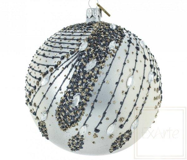 klasyczna bombka srebrna kula / Silbern Weinachstkugeln - 12cm / Silver Christmas bauble - 12cm