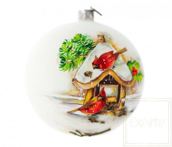 malowane ręcznie ptaki bombka świąteczna
