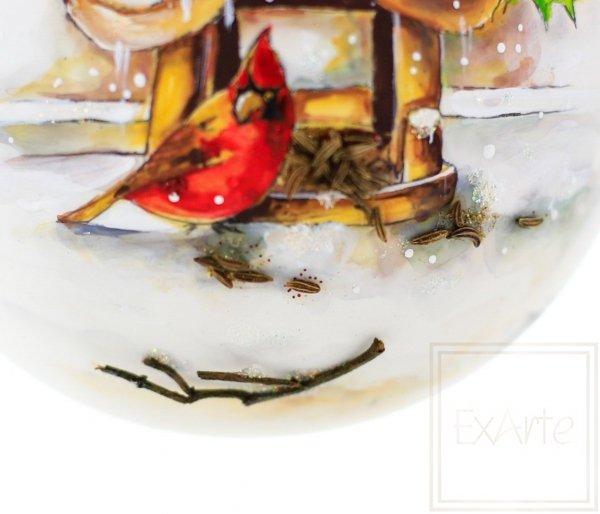 szklane bombki z ręcznie malowanym obrazkiem