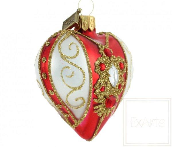 serce czerwone na choinkę / Herz 5cm - Halskette auf Rot